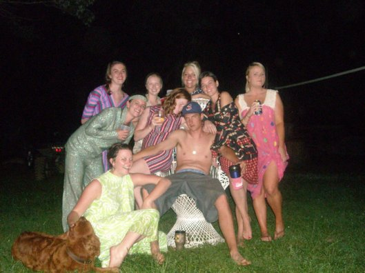 Scrub and the ladies of the Annual Gasconade River party.  Yes that's retro disco gear, we get weird.