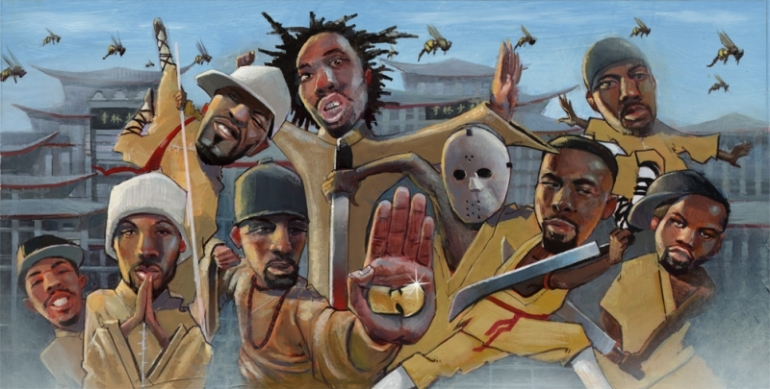 "Justin Bua    ""Wu-Tang Clan""    Unique Hand Embellished Giclee on Canvas       18 1/4"" x 36"""